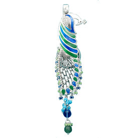 Dazzling Peacock Silver Key Ring-KC001