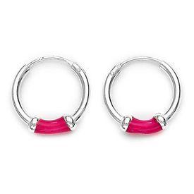 Hoops Silver Earrings-ER012, pink