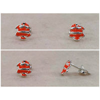 Delightful Fish Shape Enamel Silver Tops-ER033