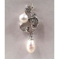 Natural Pearl Sterling Silver Pendant-PD003