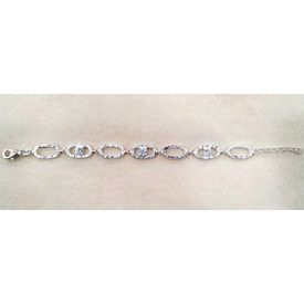 Beautiful 3 Stone Silver Bracelete-BR006