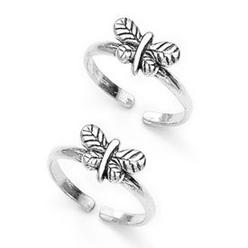 Beauteous Butterfly Silver Toe Rings-TR337