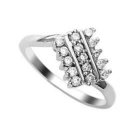 Lovely CZ Silver Finger Ring-FRL047