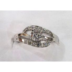 Fair White Zircon Silver Finger Ring-FRL005
