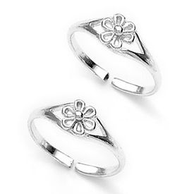 Flower Charm Silver Toe Ring-TR323