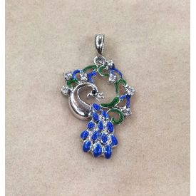 Dazzling Zircon & Enamel Peacock Silver Pendant-PD043