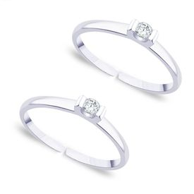 Glorious White Cz Silver Toe Ring-TR252