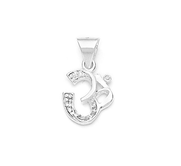 Zircon studded om silver pendant silver pendants online zircon studded om silver pendant pd004 aloadofball Images