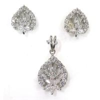 Charming American Diamond Silver Pendant Set-PDS002