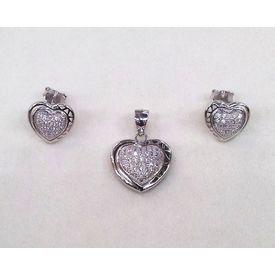 Heart Shape Zircon Silver Pendant Set-PDS011