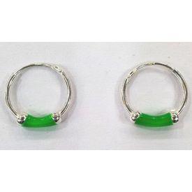 Hoops Silver Earrings-ER014, light green