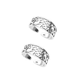 Pretty Cut Work Silver Toe Ring-TR203