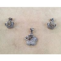 Flower Shape White Zircon Silver Pendant Set-PDS013