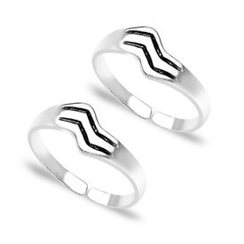 Lovely Stripes Design Sterling Silver Toe Rings-TR216