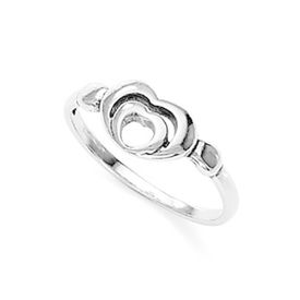 Double Hearts Silver Finger Ring-FRL040, 12