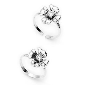 Cute Flower Shape Silver Toe Ring-TR207