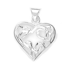 Bewitching Cut Work Heart Silver Pendant-PD023
