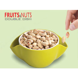 2-in-1 Stylish double bowls for fruits and their peels, green
