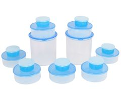 Gluman 16 Pcs Set of Round Kitchen Storage Container Box - RD Blue C1