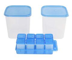 Gluman 12 Pcs. Combo of Big Kitchen Storage & Spice/ Masala Container Box - SL Blue C2