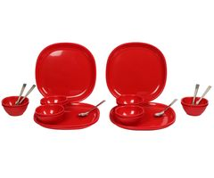 Gluman Dinner Set - Sparkle 24 pcs Square (Red)