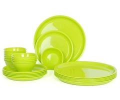 Gluman Microwave Safe Dinner Plate Set - 12 Pcs Round Green