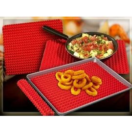 Red Pyramid Pan Silicone Baking Mat Reduces Fat Cone Shaped