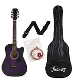 Juarez JRZ38C/VTS 6 Strings Acoustic Guitar 38 Inch Cutaway, Right Handed, Violet/Purple With Bag, Strings, Picks And Strap