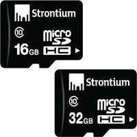 Combo Of Strontium 16GB & 32 GB microSDHC Memory Card (Class 10)