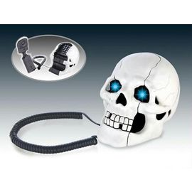 Skull Shape Novelty Telephone With Flashing Light