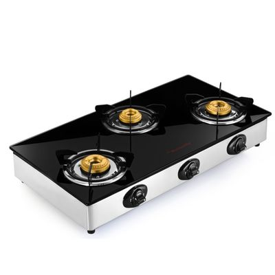 Butterfly 3 Burner Reflection Gas Stove,  silver