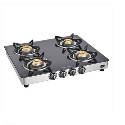 Sunflame Classic 4 Burner SS Gas Stove,  silver