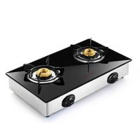 Butterfly 2 Burner Reflection Auto Ignition Gas Stove,  silver