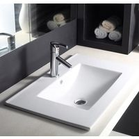 Hindware L460mm X W750mm X H180mm Topaz Counter Top Self Rimming Wash Basin# 91028, starwhite