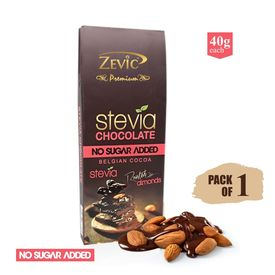 Zevic Sugar-less Chocolate with Roasted Almonds 40 gm