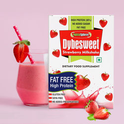 NutraSphere Instant Strawberry Milk Shake Powder (Zero Fat, High Protein), 200 gms - 6 sachets