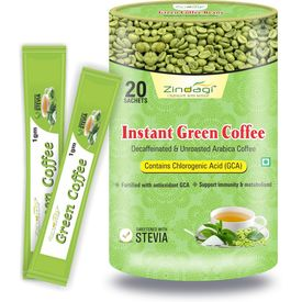 Zindagi Instant Green Coffee Powder - Natural Fat Free Powder 20 Sachets