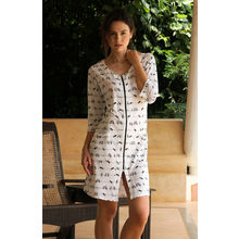 C97- Front chain sparrow print Night Dress, m,  white