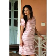 C102- Cute heart print Night Dress, s,  pink