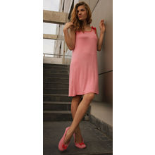 C26- Pink Scoop Shoulders Dress, s,  pink
