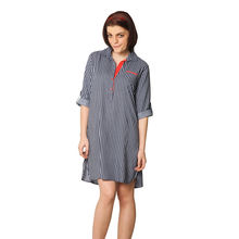 C61- Striped Sleepshirt, m,  blue