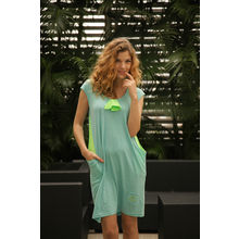 C41- Supercool Pocket Dress with Bow, s,  dust white