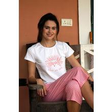 C92- T-shirt and Polka dots Three Quarters, m,  light pink