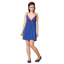 L56- Polka Dots Short Nightie with Panties, s,  blue