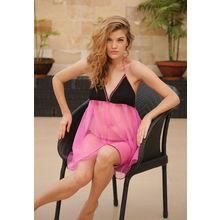 L44- Black and Pink Tie-up Backless Dress, s,  neon pink