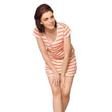 C67- Striped Jumpsuit, l,  orange