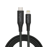 Switch Ultra Rugged USB-C To MFI Lightning Charge and SYNC Cable 1.2M, Black