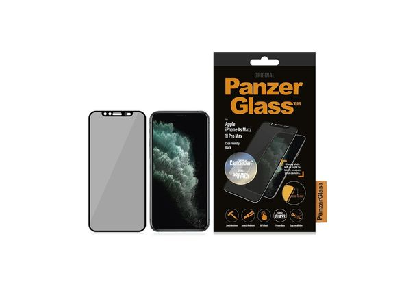 PanzerGlass Apple iPhone Xs Max/11 Pro Max Black & Case Friendly, CamSlider & Dual Privacy