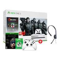 Microsoft Xbox One S 1TB Console with Gears 5 DLC and Hellblade and Fortnite 500 V-Bucks and Chat headset and Extra Controller