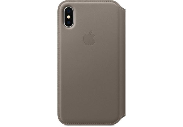 Apple iPhone X Leather Folio, Taupe